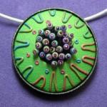 Green Fringe Pendant by Libby Mills