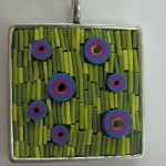 Lime Square Mosaic Pendant by Libby Mills