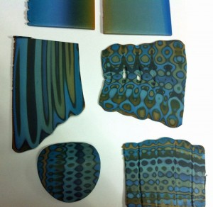 Polymer clay blended sheet in blues and greens