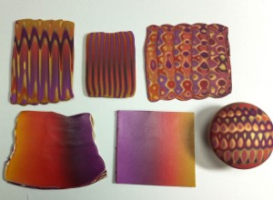 Polymer clay blended sheets and canes - purple to gold